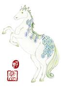 Année du cheval 2014年は午年。馬は、可愛い。気づくと、馬のことを「犬」と言いまつがっていることがある…。馬の背中からお尻に掛けて描いた模様は、「厳島神社蔵平家納経新解品標紙文様」。