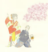 Kabuki 1000 arbre de cerise Yoshitsune 歌舞伎「義経千本桜」正に春の演目です。右側にいる佐藤忠信が大事に抱えているのは鼓にされた母を愛おしんでいるのです。