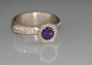 Ring - Goldschmied - Palladium - Brillanten - Amethyst
