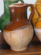 Grand pichet glasure brune 1/3 de pichet col jaune  interieur brun, Saint Zacharie , 35cm, XIXeme