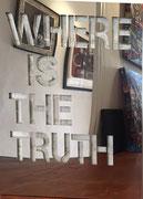Joseph (Thierry Michelet) 116X89cm -WHERE IS THE TRUTH, Inox poli miroir en décalé sur panneau de mortier chaulé.Différents formats et finitions sur commande.