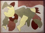 Bernadette de Samois, plâtre et peinture sur panneau de bois, 92 x 124 cm, Galerie Gabel, Biot.