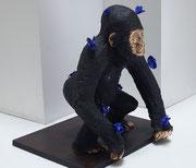 """""""p'tit Kong"""" sculpture en bronze de Philippe Berry  1/8-51X50X54cm- galerie d'art Biot-"""