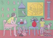 Julian Semiao, Foyer, 120X165cm, acrylique sur toile, figuration libre. Vernissage le 08 juillet Galerie Gabel, Biot