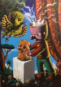 Moya-Acrylique sur toile_Moya-Acrylique sur toile-Triptyque ouvert partie gauche 70X50cm, triptyque entier 200X70cm. Galerie Gabel-BIOT