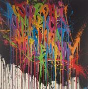 """érémy BESSET acrylique sur toile 120X120cm """"Aujourd'hui commence le combat de demain"""" galerie Gabel"""