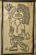 Nils-Indian chief-Posca noir sur kraft doré-(autres dessins sur demande)Galerie Gabel-galerie d'art côte d'Azur-BIOT