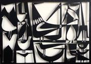 """Antonine de Saint Pierre, bas-relief oiseaux """"Birdies"""" découpe de métal fixée sur panneau de bois peint. Galerie Gabel - Biot"""