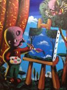 Moya-Acrylique sur toile-Triptyque ouvert partie gauche 70X50cm, triptyque entier 200X70cm. Galerie Gabel-BIOT