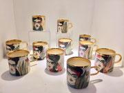 Karolina Szelag tasse en porcelaine faites et peintes à la main, signées numérotées. Frida Khalo-Galerie Gabel-Biot