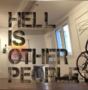 HELL IS OTHER PEOPLE 80X80cm- inox poli miroir sur mortier chaulé et pigments-josephartwork