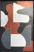 Bernadette de Samois , plâtre et peinture sur panneau de bois. Galerie Gabel, Biot