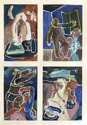 """Charlotte Janis-encre, peinture, latex sur papier- Galerie Gabel- Biot-côte d'Azur-""""Par les fenêtres..."""""""