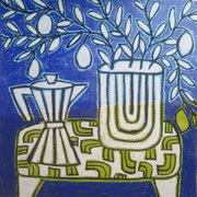 "Gordon Hopkins 100X100cm- ""coffee pot with lemon tree in blue"" huile sur toile -Galerie Gabel Biot"