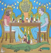 Julian Semiao, Entrevue, 140X150cm acrylique sur toile, figuration libre. Vernissage le 08 juillet Galerie Gabel, Biot