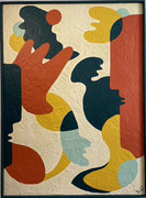 Bernadette de Samois, plâtre et peinture sur panneau de bois. Galerie Gabel, Biot
