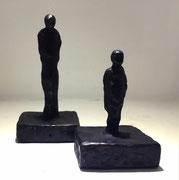Sophie Hustin- H:14 et 10cm-pièces uniques en bronze.Galerie Gabel BIOT
