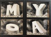 Moya-Acrylique sur toile- Triptyque fermé (voir les 3 autres photos pour le voir ouvert) Galerie Gabel-BIOT
