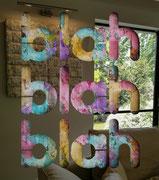 BLAH, BLAH, BLAH 60X80cm - inox poli miroir sur mortier chaulé et pigments -Galerie Gabel- Côte d'Azur - Biot