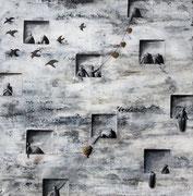 Sophie Hustin, acrylique sur toile. 100X100cm. Galerie Gabel. Biot. France