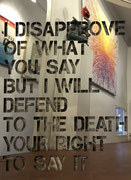 I disapprove of what you say but I will defend to the death your right to say it- 60X80cm - inox poli miroir sur mortier chaulé et pigments-