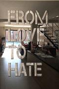 Joseph (Thierry Michelet) -FROM LOVE TO HATE, Inox poli miroir en décalé sur panneau de mortier chaulé et pigments. Différents formats sur commande.