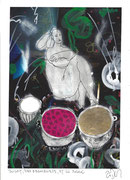 Frank Zeidler, Dessin original , encres, aquarelle, crayon. 28X38cm-  Galerie Gabel, Biot -  Galerie Gabel, Biot - Milk, raspberries, and the sun –