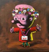 Moya-Acrylique sur toile- auto portrait à la couronne de fleurs-40X40cm-Galerie Gabel-BIOT