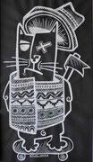 Nils-Posca blanc sur kraft noir(autres dessins sur demande)Galerie Gabel-galerie d'art côte d'Azur-BIOT