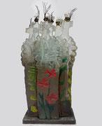 MARCOVILLE -Sculpture en verre taillé, peint, pièce unique Galerie Gabel - Biot