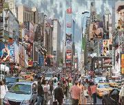 """Serge Mendjinsky """"Mademoiselle Cheng"""" 120X101cm. Reconstruction de photographie argentiques sur le thème de New York."""