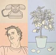 Julian Semiao, Dissonance, 80X80cm, acrylique sur toile, figuration libre. Vernissage le 08 juillet Galerie Gabel, Biot