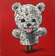 Moya-Acrylique sur toile- fond rouge-40X40cm-Galerie Gabel-BIOT