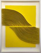 René GALASSI-Calicots et pigments jaunes-papier Moulin de Larroque-100X130cm-Galerie Gabel-Biot-Nice-Valbonne-Cannes-Saint Paul de Vence