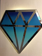 Le diamantaire-street art- Diamant en miroir recyclé- 44X44cm-Galerie d'art-Côte d'Azur-Galerie Gabel-BIOT