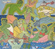 Julian Semiao, L'exil, 180X170cm acrylique sur toile, figuration libre. Vernissage le 08 juillet Galerie Gabel, Biot