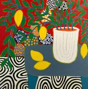 "Gordon Hopkins 100X100cm- ""Lemon tree still life""- huile sur toile- Galerie Gabel Biot"