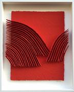 René Galassi Calicots et pigments-papier Moulin de Larroque en bas relief-pigments rouges sous Plexiglas-Galerie Gabel-Biot-côte d'Azur