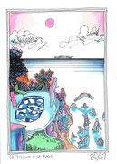 Frank Zeidler, Dessin original , encres, aquarelle, crayon. 28X38cm-  Galerie Gabel, Biot -  Galerie Gabel, Biot