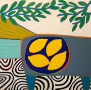 """Gordon Hopkins 100X100cm- """"Lemons from Italy""""- huile sur toile- Galerie Gabel Biot"""