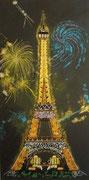Paris et sa tour Eiffel qui brille de mille perles - perles et acrylique  50 X 100