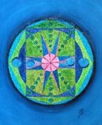 Mandala -perles et acrylique - 38 X 46