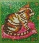 Le Chat perlé -perles -19,5 X 19,5