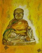Bouddha Thaï - perles, acrylique et collage - 35 X 43