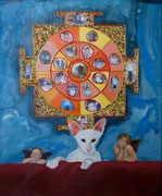 Mandala au chat - perles, acrylique et collage -