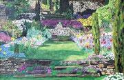 Jardin fleuri - huile - 40 X 26