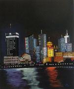 Shanghaï la nuit - acrylique et perles - 55 X 65