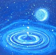 Marie d'eau, marée lune  50x50cm Toile 500€