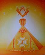 De Terre, d'Eau,d'Air et de Feu, elle pyramide. 57x67cm  Toile vendue à Jaime Berthon
