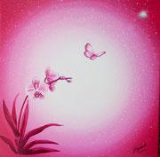 Il a dit : La fleur, le papillon, l'étoile 40x40cm  Vendue à Régine BETAT pour Simpliste CAMEROUN